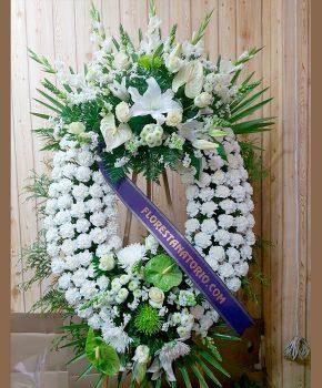 Comprar corona funeraria blanca y verde K6