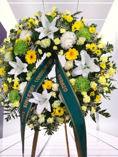 Corona Funeraria Amarilla y Blanca