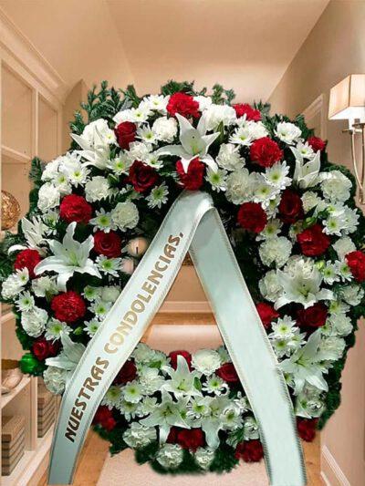 Corona Funeraria Blanca y Roja